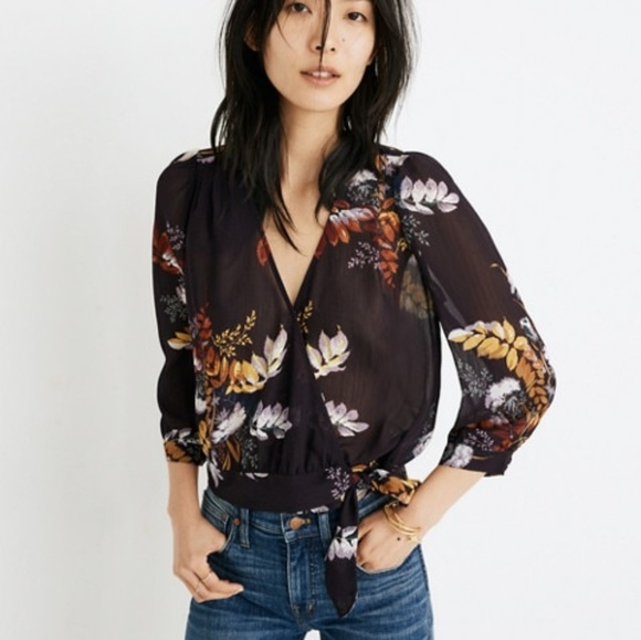 b00acba8ff59a Madewell Purple Blooming in Oasis Wrap Blouse